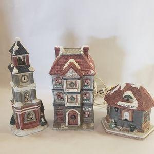 Vintage Christmas Light Up Village 3 Piece Set